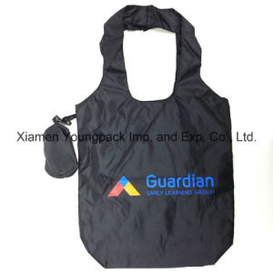 Promotional Custom Imprinted Black Nylon Fold up Reusable Tote Bag pictures & photos