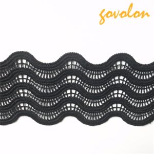 Black Wave Polyester Trim Lace Fabric