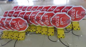 china school bus used folding stop sign double side stop warning