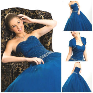 2012 Magnificent Sexy Sweetheart A-Line Sheath Jacket Ruffle Sash Paillette Tulle Satin Quinceanera Dress (QD-040)