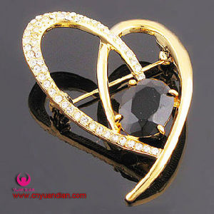 High Quality Classical Heart Glass Stone Brooch
