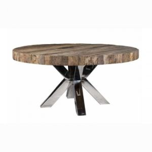 Kvj-Rr09 Stainless Base Reclaimed Wood Top Rustic Round Dining Table