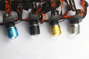 5W White Yellow Blue Light Zoomable Rechargeable Head Lamp Headlamp LED Headlight pictures & photos