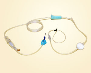 Disposable Safety Infusion Set with Flow Blocking Valve and Presicion Filter/TPE