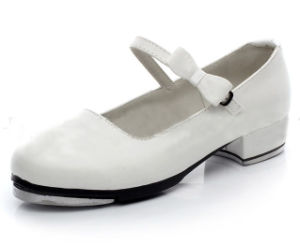 Women′s and Girl′s White Leather Tap Shoes
