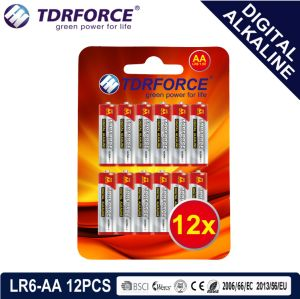 1.5V China Manufacture Digital Primary Alkaline Dry Battery (LR6-AA 12PCS)
