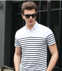 Black and White Short Sleeves Mens Striped Polo Tshirts pictures & photos
