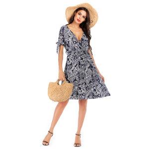 Ethnic Printing Style Dark Blue V Neck A Line Holiday Dresses