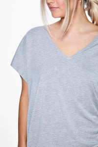 Women Oversized Loose V-Neck Plain White T-Shirt pictures & photos