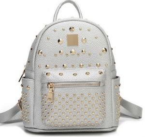 Girl′s Riveting Bag High Quality Casual Backpack Women