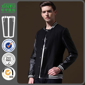 2016 PU Sleeves Men Custom Wholesale Embroidery Baseball Jacket pictures & photos