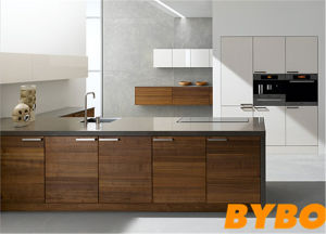 Timber Veneer Finish With High Glossy Kitchen Cabinet By L 113