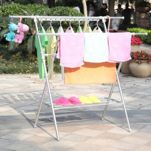 Aluminum X-Type Telescopic Extending Clothes Display Rack