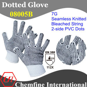 7g Bleached Polyester/Cotton Knitted Glove with 2-Side Black PVC Dots/ En388: 112X pictures & photos