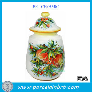Custom White Jar with Pomegranate Pattern pictures & photos
