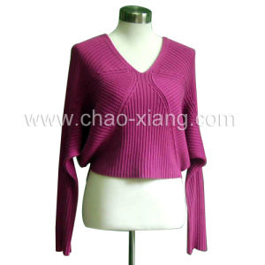 Women′s Knitted Batwing Sleeves Sweater With V-Collar (CX-W-001L)