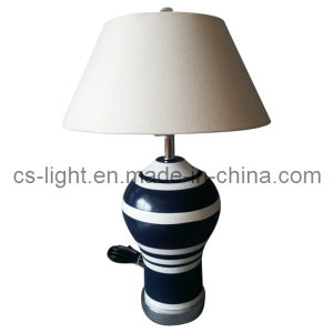 UL Listed Decoration Ceramic Body Chrome Base Desk Lamp