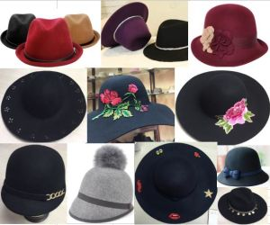 ed9d3e82b 100% Wool Woven Fashion Lady Felt Hat Cowboy Fedora Trilby Floppy Bowler  Hat Caps
