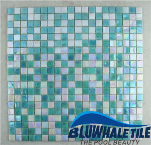15X15mm Green Blend Hot Melt Glass Swimming Pool Mosaic Tile (BGC011)