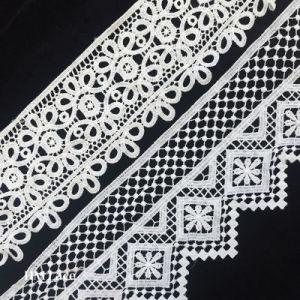 A Black floral cotton lace collar applique Round shape neckline collar motif
