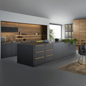Modern Style Black Color High Gloss Plywood Kitchen Cabinets Design Doors