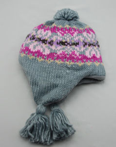 China Girls Kids Baby Jacquard Knitted Multiful Color Earflap Hat
