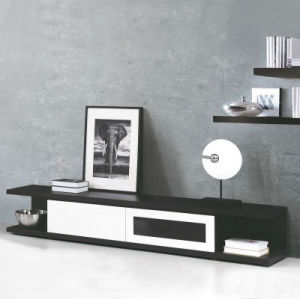 Mdf Black White Tv Cabinet With 2 Drawers T278