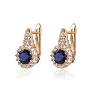 Dark Blue Zircon Women Gift Artificial Jewelry Clip Earring