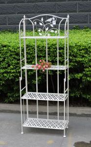China Popular Shabby Chic Anti White 4 Tier Metal Garden Shelf