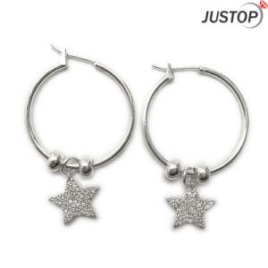 Custom Made Pendant Silver Star Earrings Rhinestone Jewelry White Gold Plated Earring