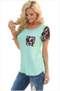 Leopard Print Spliced Women T-Shirt pictures & photos