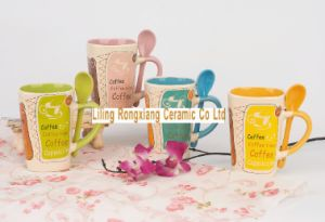 11oz Ceramic Mug with Spoon Can Customize Any Design and Color