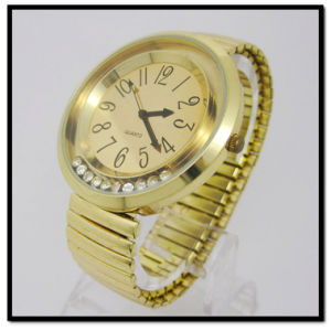 Hanglee-1538 Gold Plated Spring Band Women Wristwatch pictures & photos