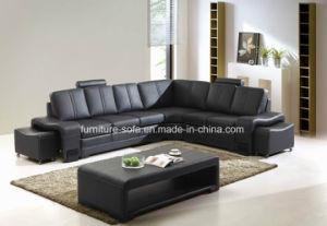 Modern Fashion Living Room Wood Frame Sponge Corner Leather Sofa (S022)