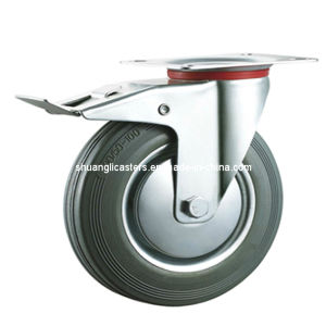 Gray Rubber Swivel Industrial Caster Braked Wheel (N191DB)