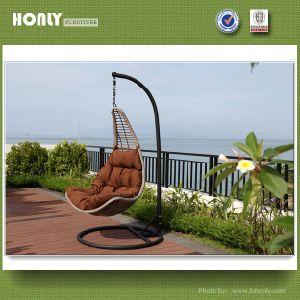 Wrought Iron Wicker Hanging Chair Morden Metal Rattan Garden Swing