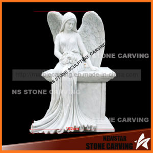 White Carrara Marble Angle Wings Gravestone pictures & photos