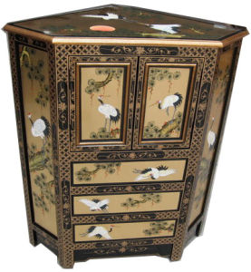 China Lacquer Oriental Furniture Gold Color Corner Cabinet China
