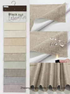 Home Textile Woven Polyester Fabric Waterproof Fr Flocking Linen Blackout Fabric for Window Curtain