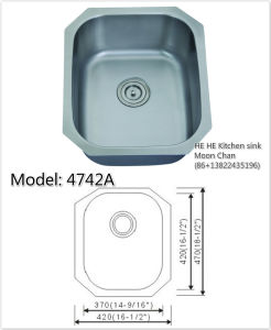 Undermount 304 Stainless Steel Kitchen Sink or Bar Sink 4742A (1816) pictures & photos