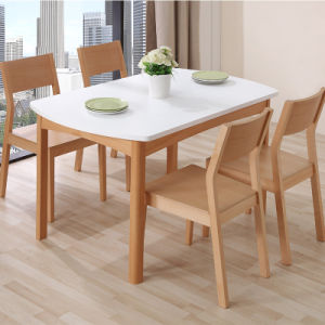 Satin White Expandable Wooden Dining Table
