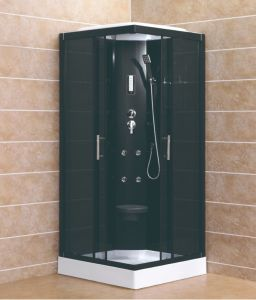 Full Black Color Computer Controlled Panel Shower Seat Steam Room Shower  Cabin