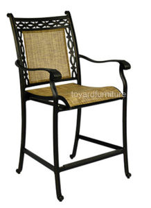 Sun Set Us Style Hotel Outdoor Garden Furniture Bar Stool with Sling Mesh Back Brown Antique Finish