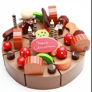 Wood Birthday Cake For Kids Fruit Role Play Toy Babies