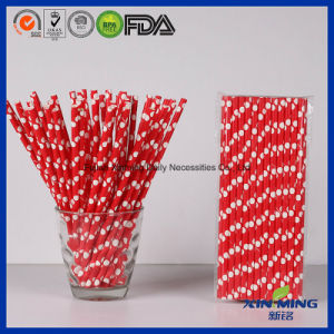 Food Grade Party Decoration, Red White Dots Paper Straw pictures & photos