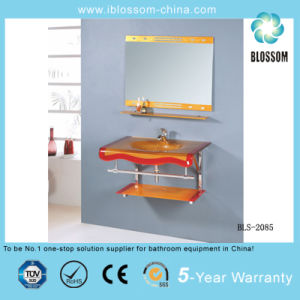 Colorful Painting Wall-Hung Glass Wash Basin with Mirror (BLS-2085) pictures & photos