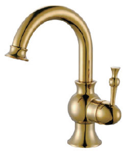 Brass Single Hole Single Lever Rocking Bathroom Basin Faucet in Gold Color (22902G)