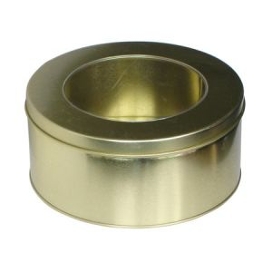 Golden Round Tin Box with Window-Nc2267L