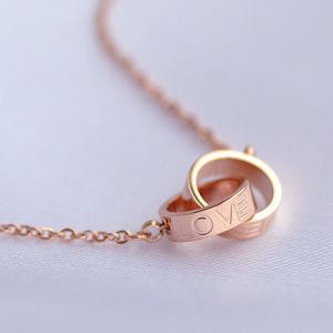 China Double Rings Pendants 18k Rose Gold Color Gold Necklace Female Short Design Chain Titanium Fashion China Double Rings Pendant Necklaces And Cheapest Necklace Price