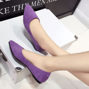 Various Colors Suede Rubber Bottom Sweet Girl Flat Single Shoes Shallow Casual Shoes pictures & photos